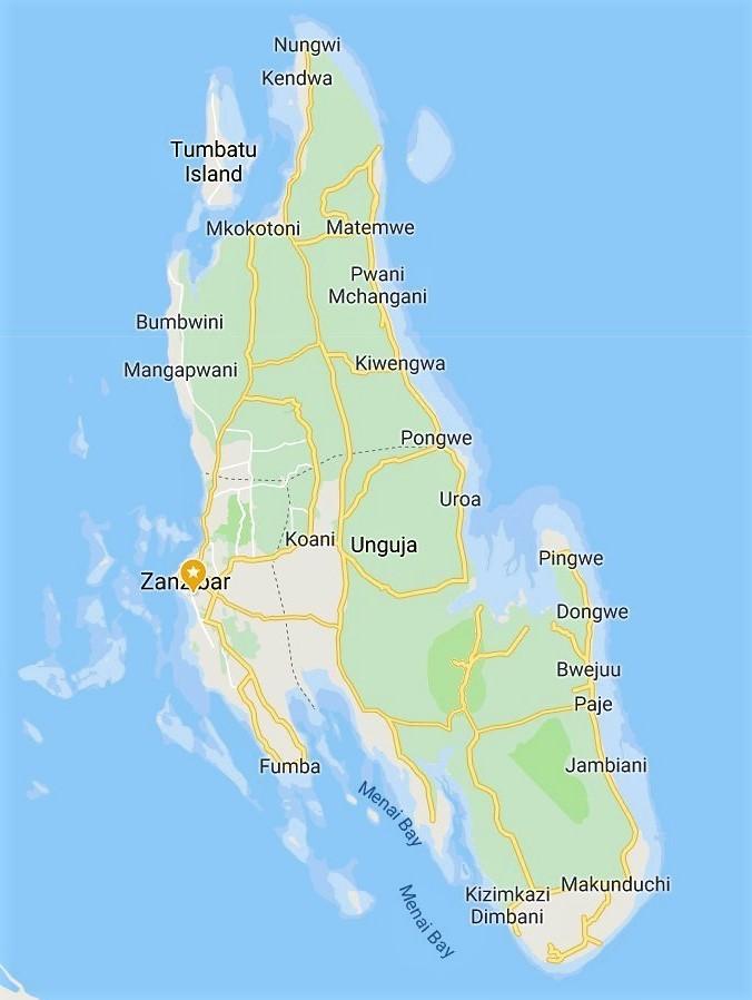 Unguja Map for Zanzibar Hotels
